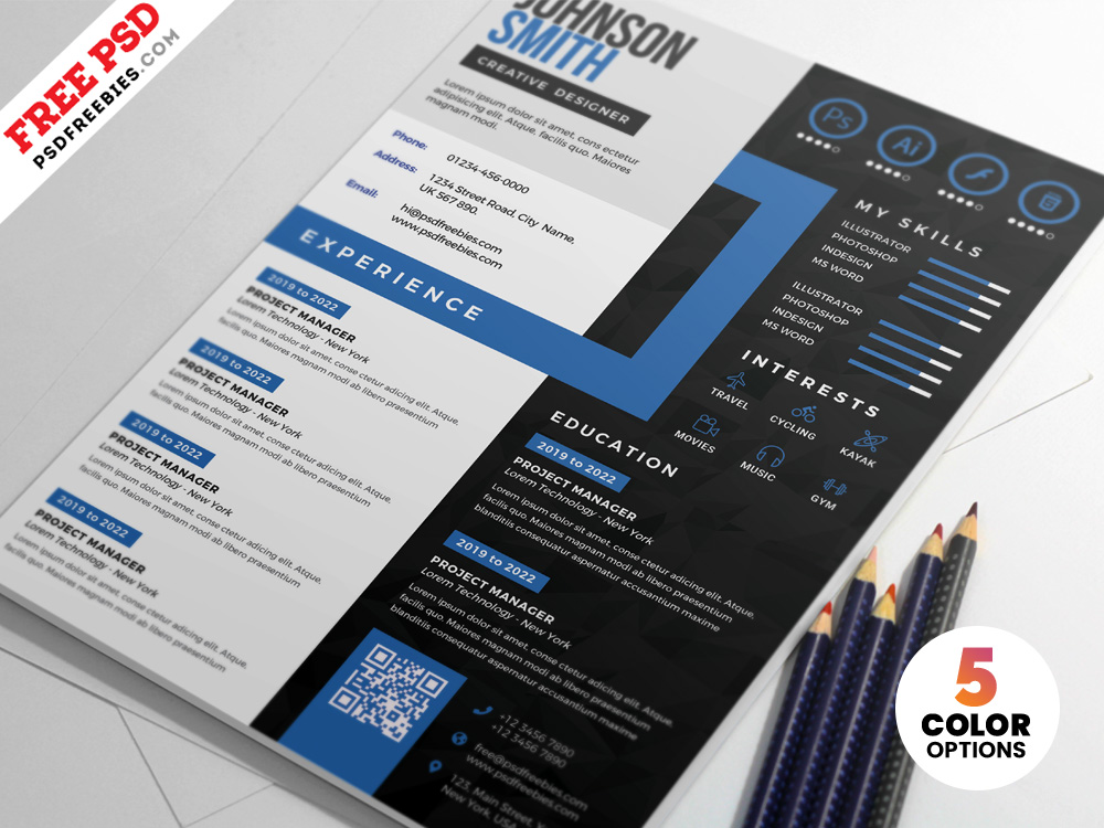 creative cv resume design psd templates