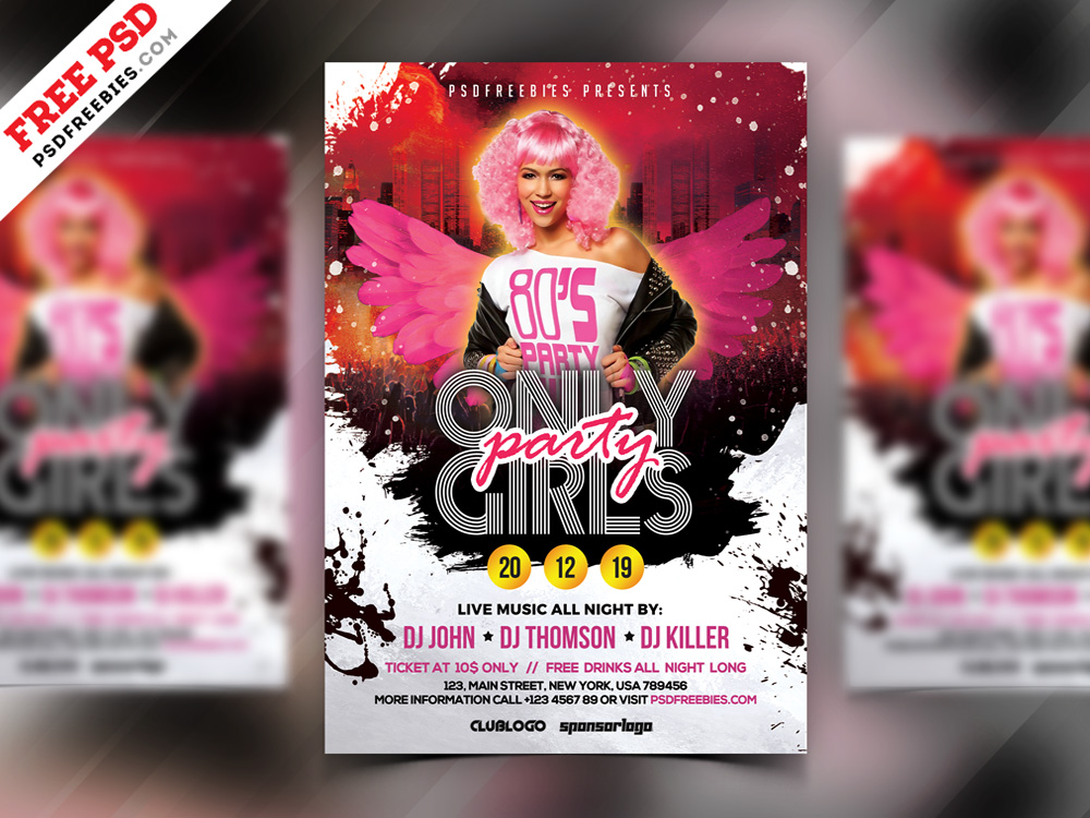 Girls Party Flyer Design PSD Template