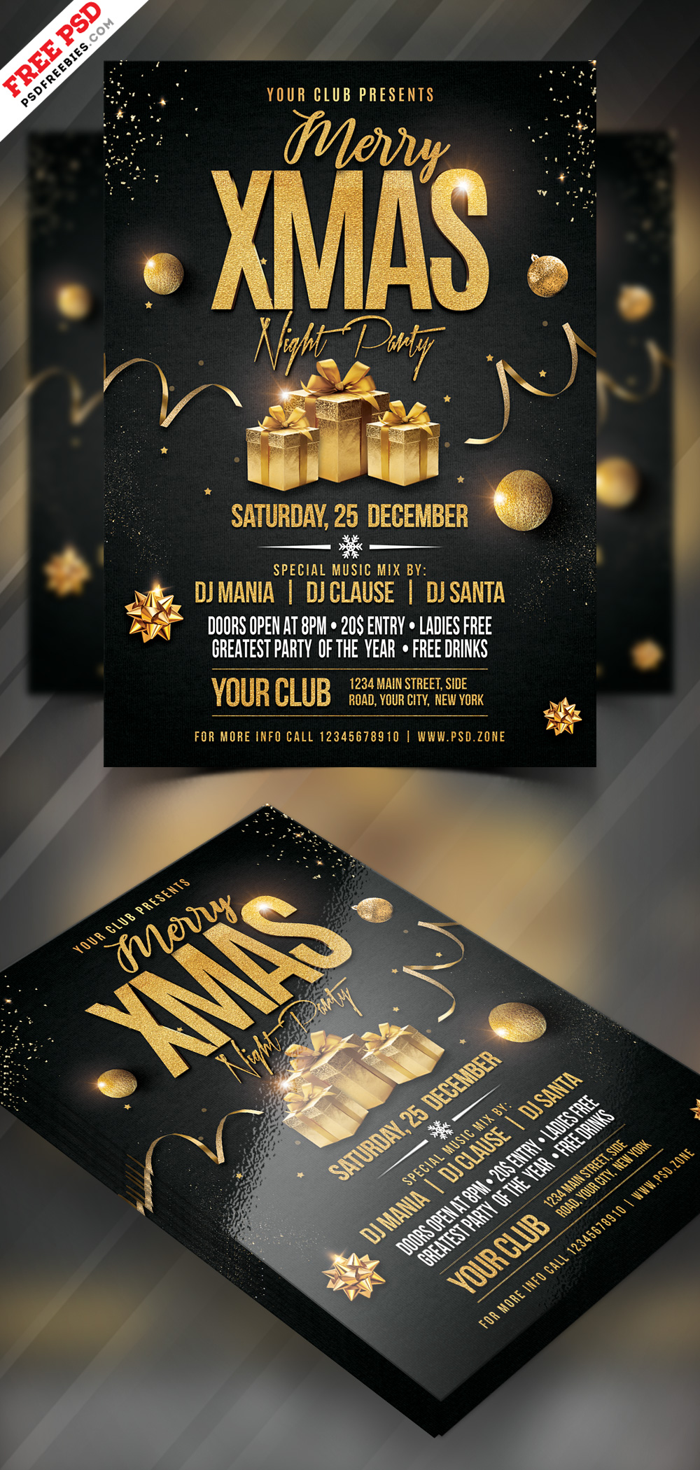 Merry Christmas Night Party Flyer PSD