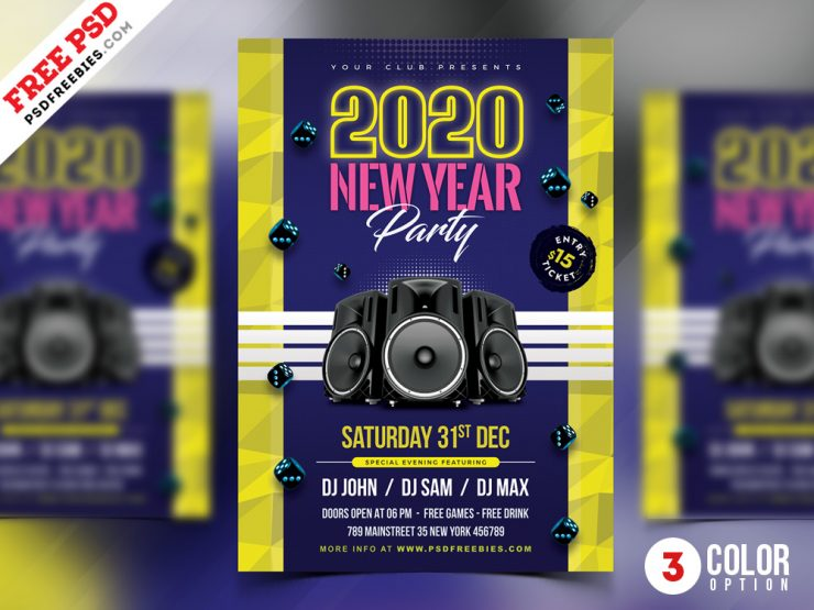 New Year Celebration Party Flyer Design PSD