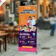 School Admission Open Roll-up Banner PSD