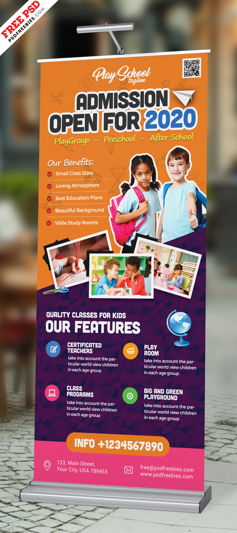 School Admission Open Roll Up Banner Psd Psdfreebies Com