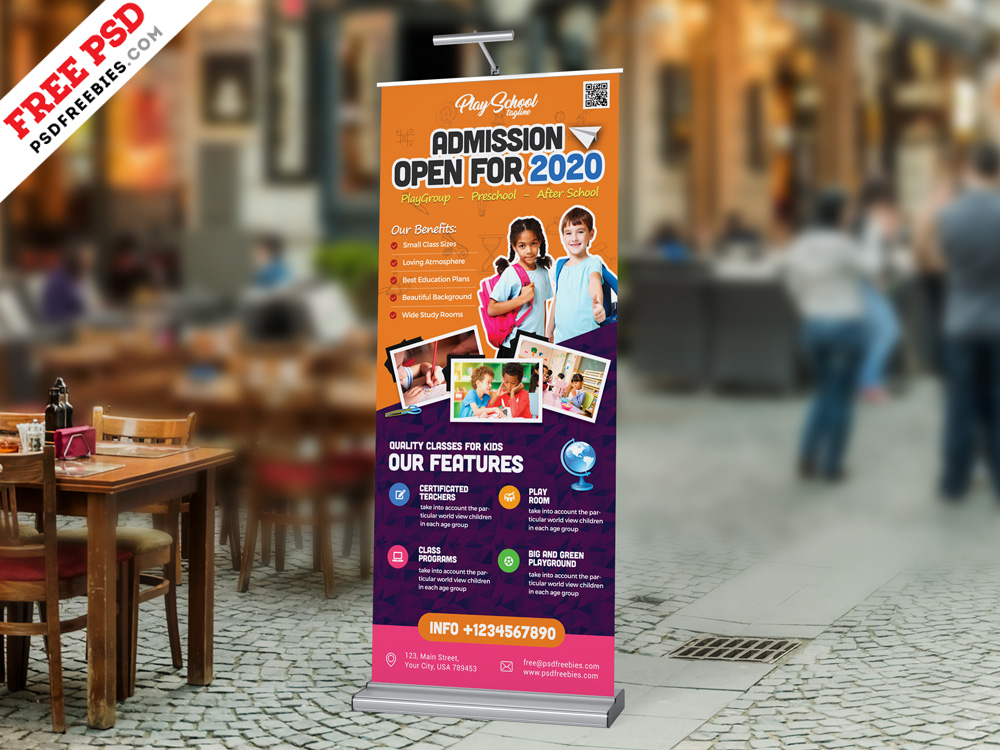 School Admission Open Roll Up Banner PSD