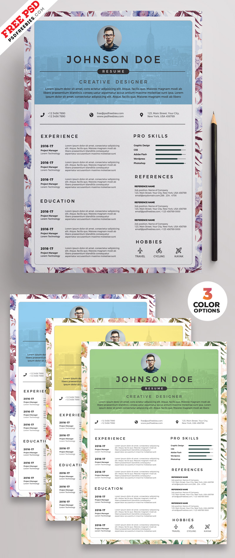 PSD Clean Resume CV Design Templates