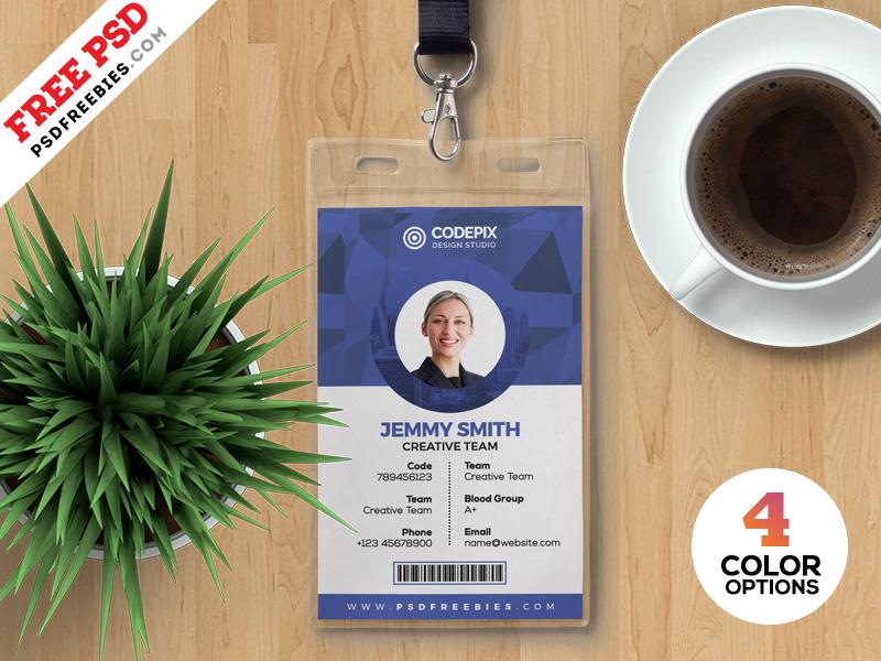 psd office identity card templates