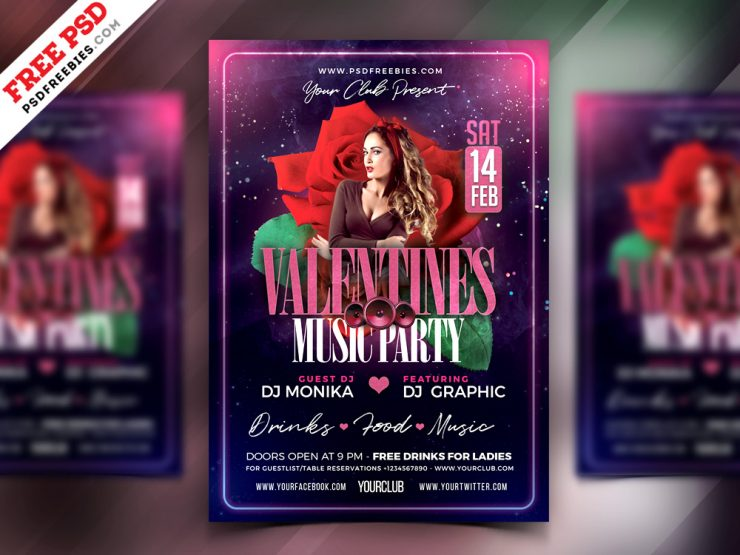 PSD Valentine Day Music Party Flyer