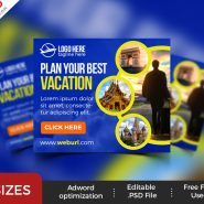 Travel Service Banner Ads Templates PSD