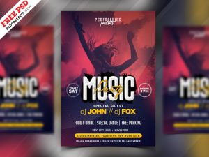 Music Party Invitation Flyer PSD Template