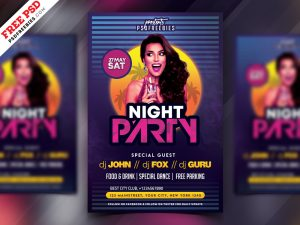 Retro Style Party Flyer PSD