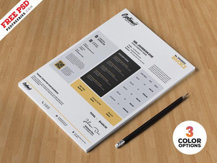 Simple Invoice Design PSD Template
