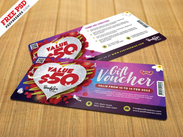 Valentines Day Gift Voucher Template PSD
