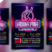 Neon Night Party Flyer Design PSD