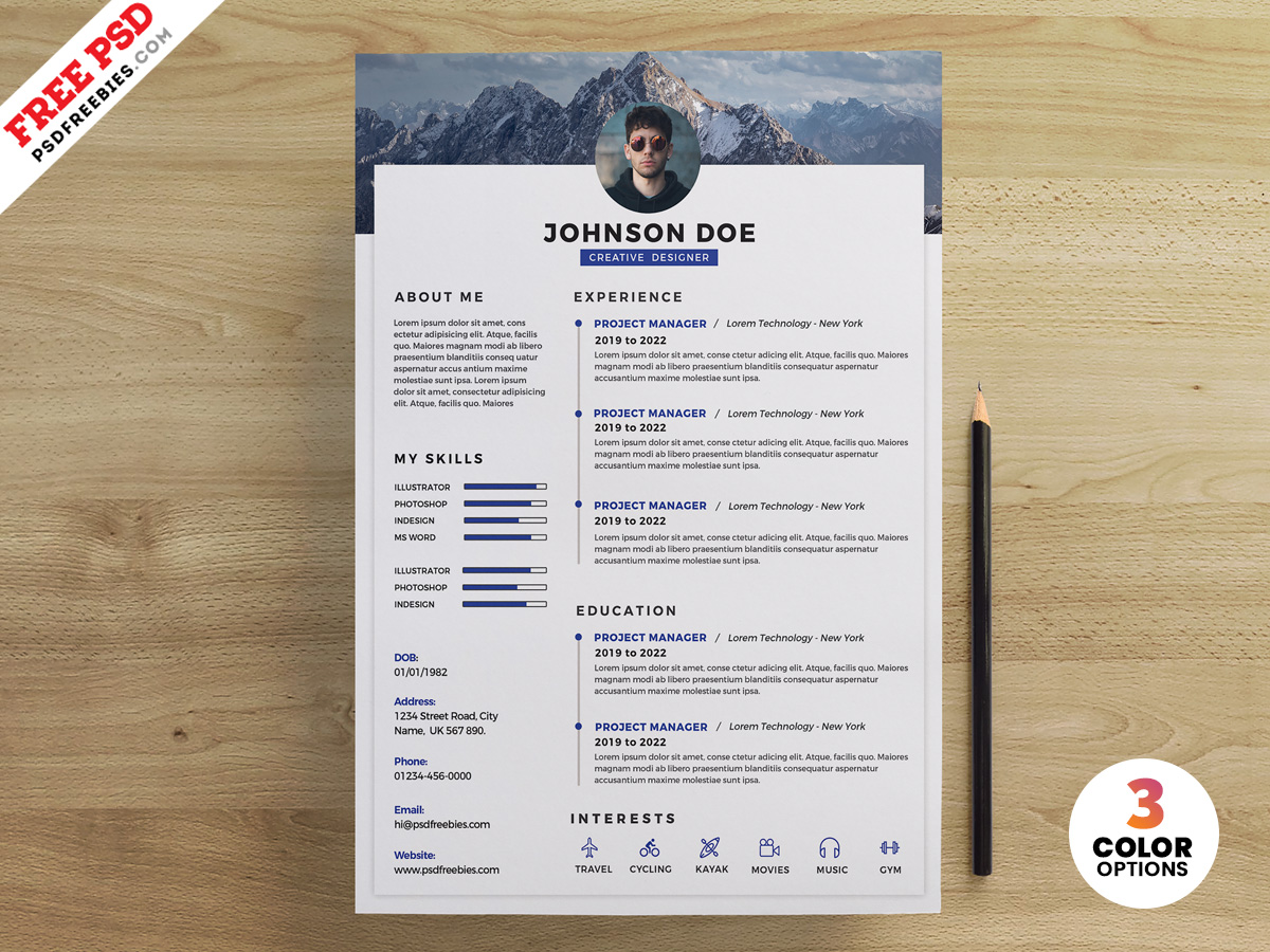 Psd Clean Resume Design Templates Psdfreebies Com