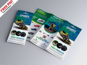 Sport Footwear Product Tri-Fold Brochure PSD