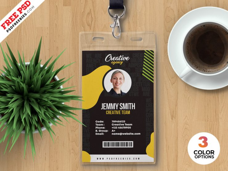 Vertical Employee Identity Card PSD