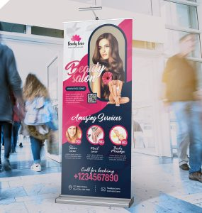 Beauty Salon Advertising Roll Up Banner PSD