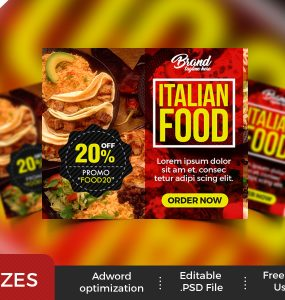 Restaurant Advertising Banners PSD Set