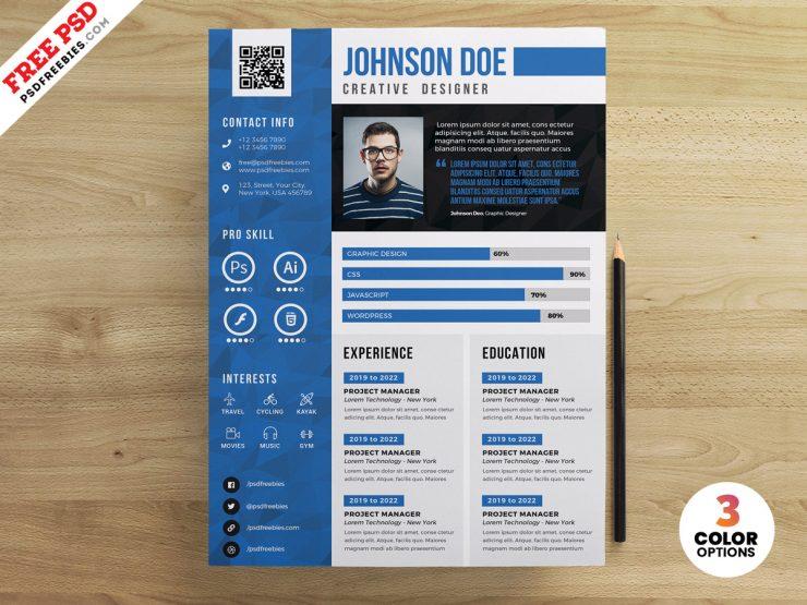 Resume CV Design Free PSD Templates
