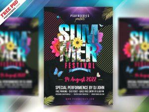 Summer Party Flyer Design PSD