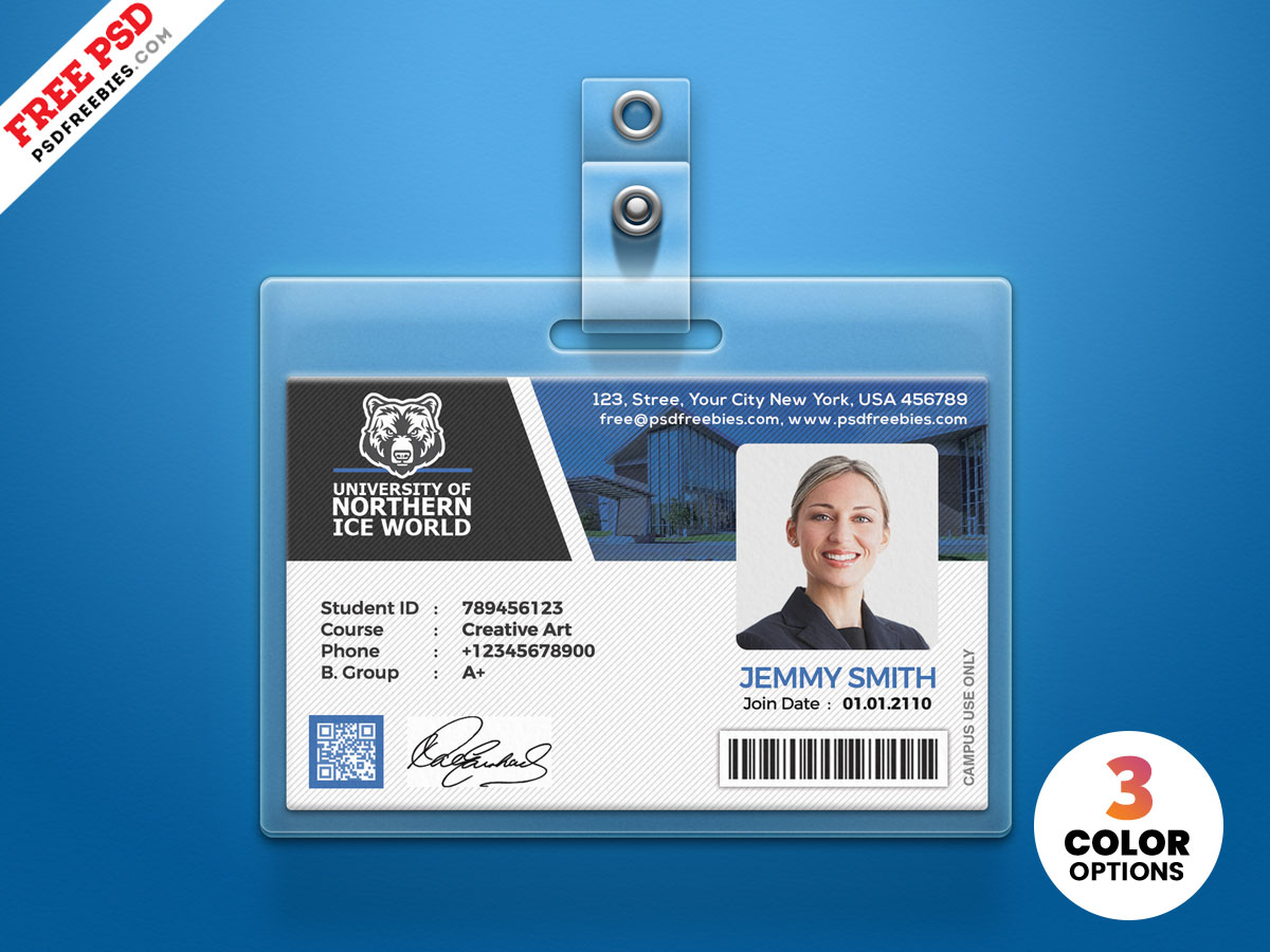university student identity card psd