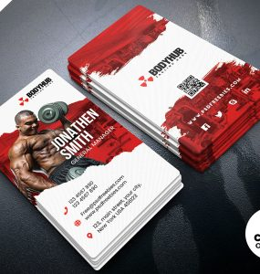 Vertical Fitness Gym Business Card PSD