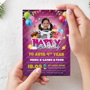 Birthday Party Invitation Card Design PSD