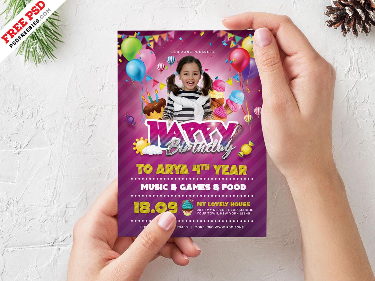 Birthday Party Invitation Card Design PSD