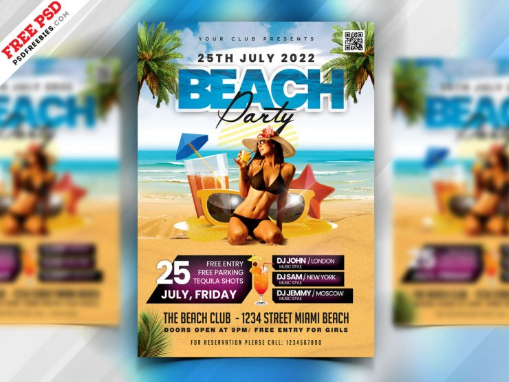 Summer Beach Party Flyer PSD