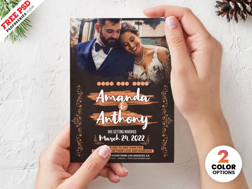 5x7 wedding invitation card design psd