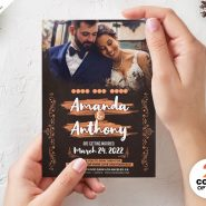 5×7 Wedding Invitation Card Design PSD