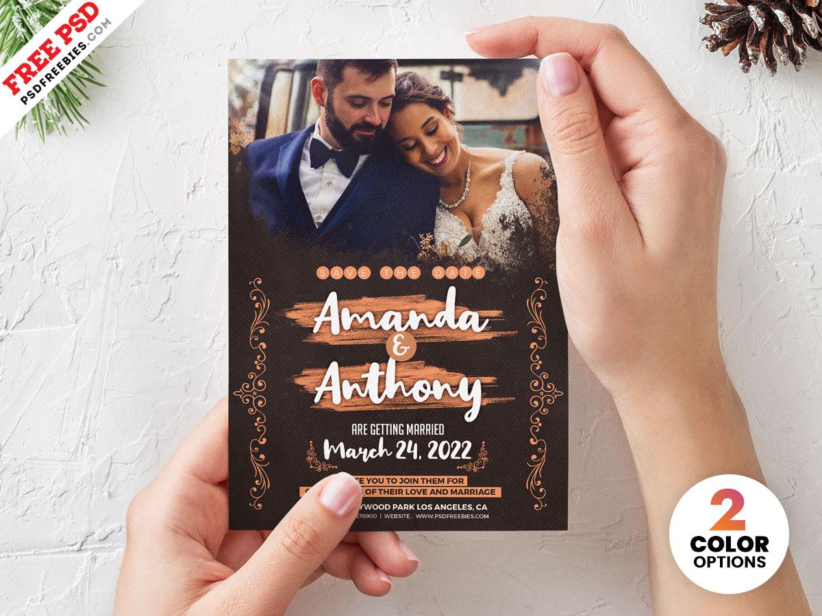 5x7 Wedding Invitation Card Design Psd Psdfreebies Com
