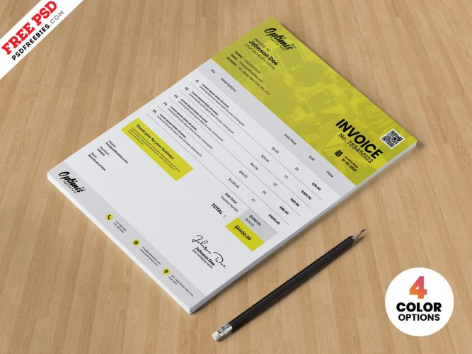 A4 Size Invoice PSD Template