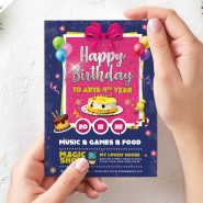 Birthday Card Invitation Template PSD