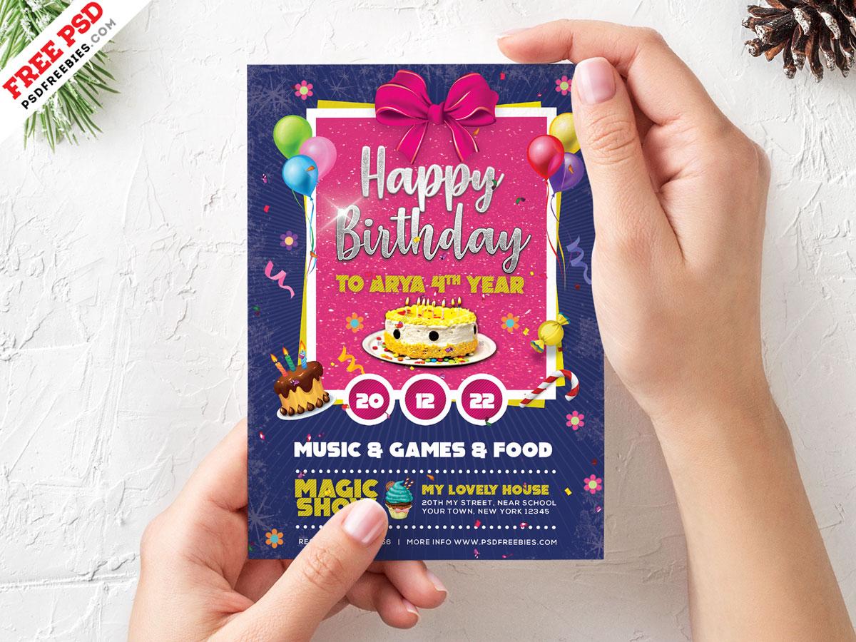 Birthday Card Invitation Template PSD  PSDFreebies.com