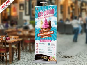 Ice Cream Shop Roll-up Banner PSD
