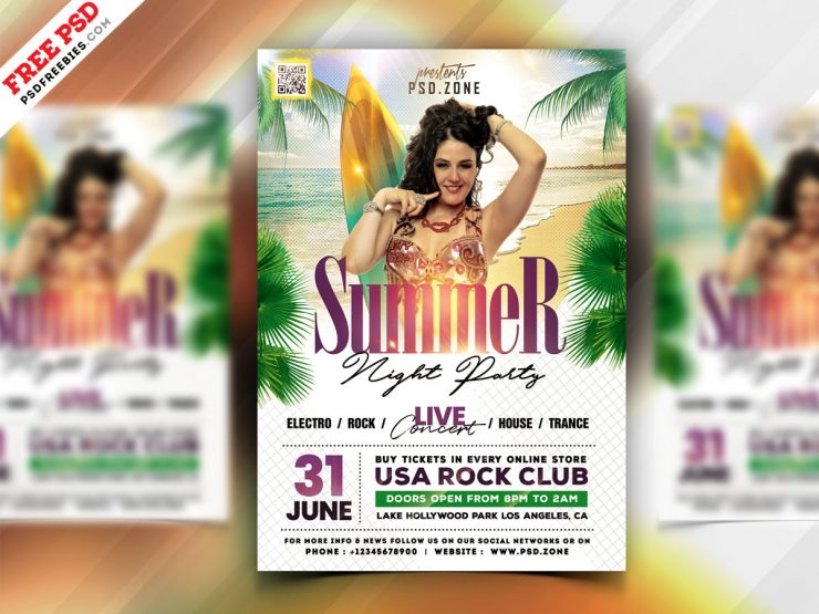 Summer Beach Party Flyer Template PSD
