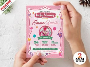 Baby Shower Invitation Card PSD