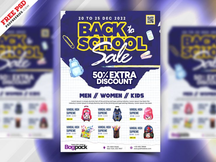 Back to School Sale Flyer PSD