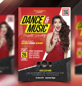 Dance and Music Party Flyer PSD