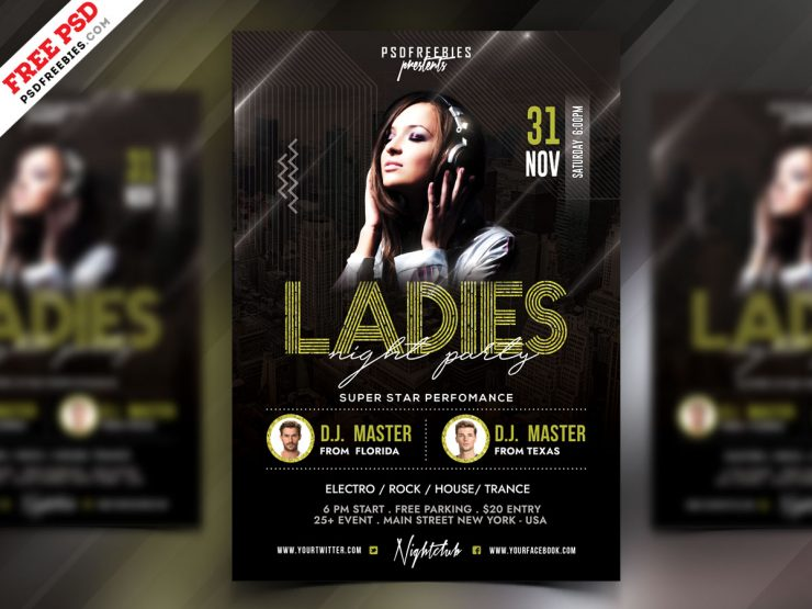 Girls Ladies Night Party Flyer PSD