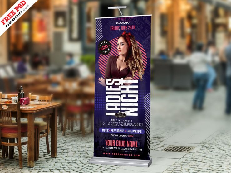 Ladies Night Party Roll-Up Banner PSD