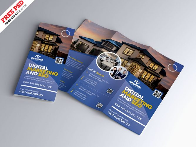 Marketing Business Tri-Fold Brochure PSD