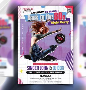 Retro Theme Party Flyer PSD