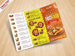Horizontal Fast Food Menu Flyer PSD
