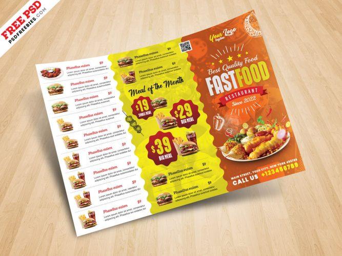 Horizontal Fast Food Menu Flyer PSD