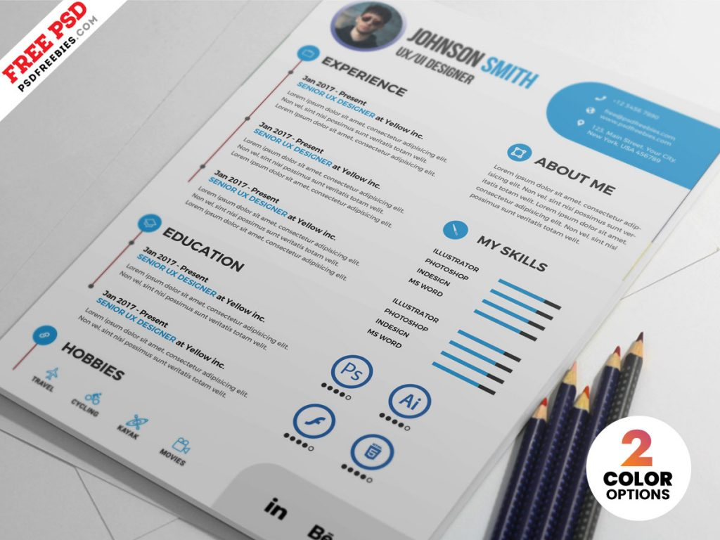 printable clean resume psd template