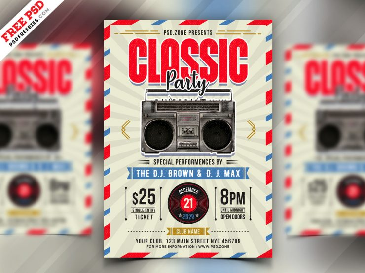Classic Theme Party Flyer PSD