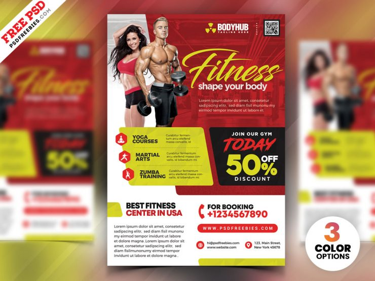 Gym Fitness Center Flyer PSD