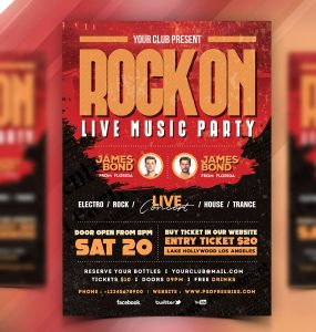 Live Rock Music Event Flyer PSD