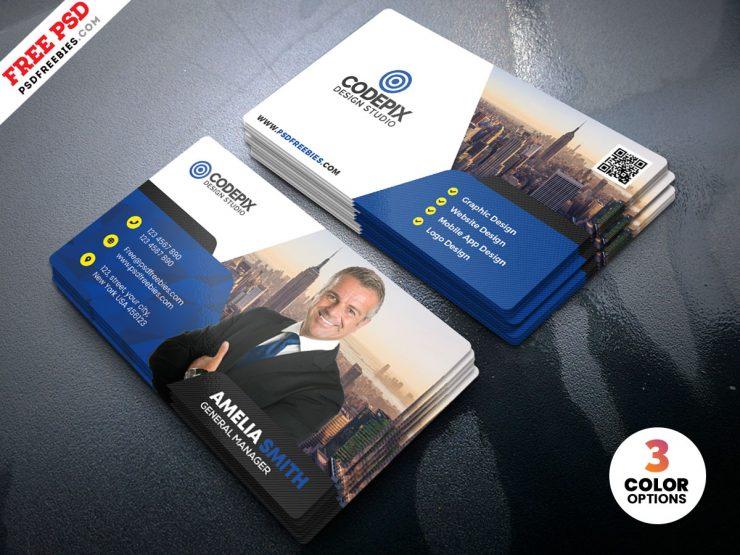 Modern Business Card Design PSD Template